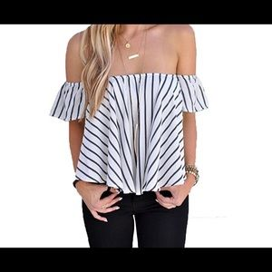Tops - Black and White striped off the shoulder top